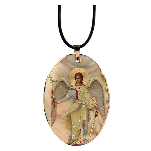 Pendant Guardian Angel natural mother-of-pearl 5