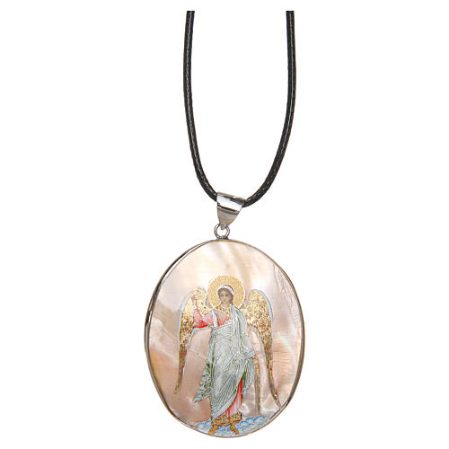 Pendant Guardian Angel natural mother-of-pearl 3