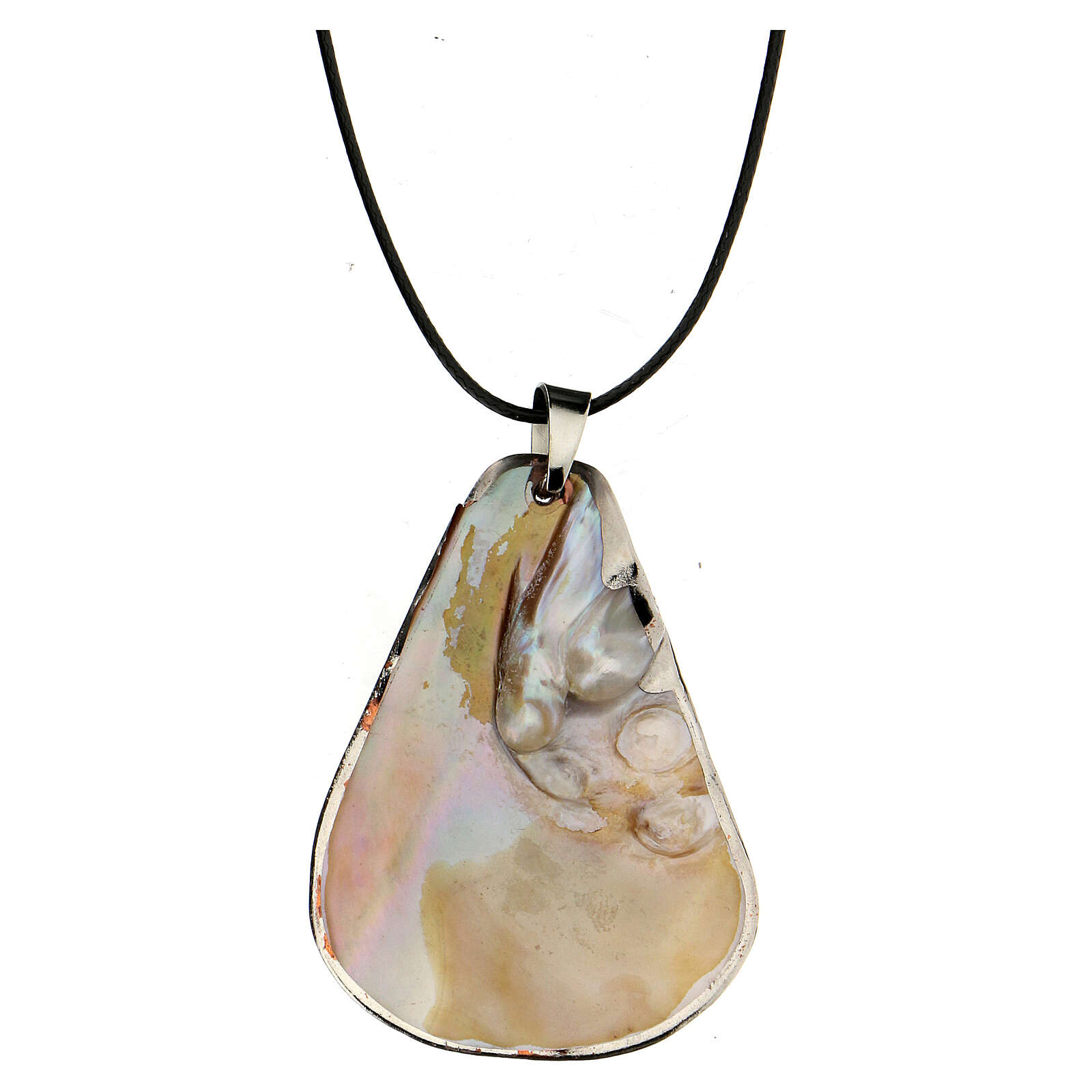 Pendant Our Lady of Lourdes natural mother-of-pearl 4