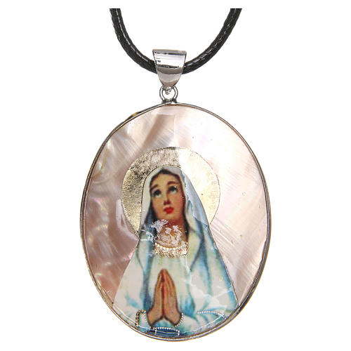 Pendant Our Lady of Lourdes natural mother-of-pearl 1