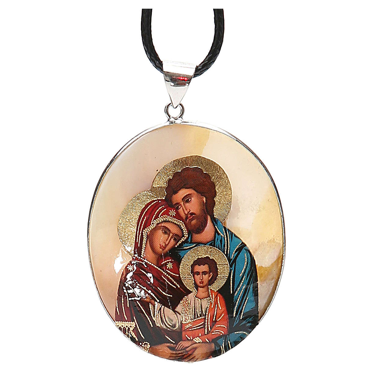 Pendant Holy Family natural mother-of-pearl 4
