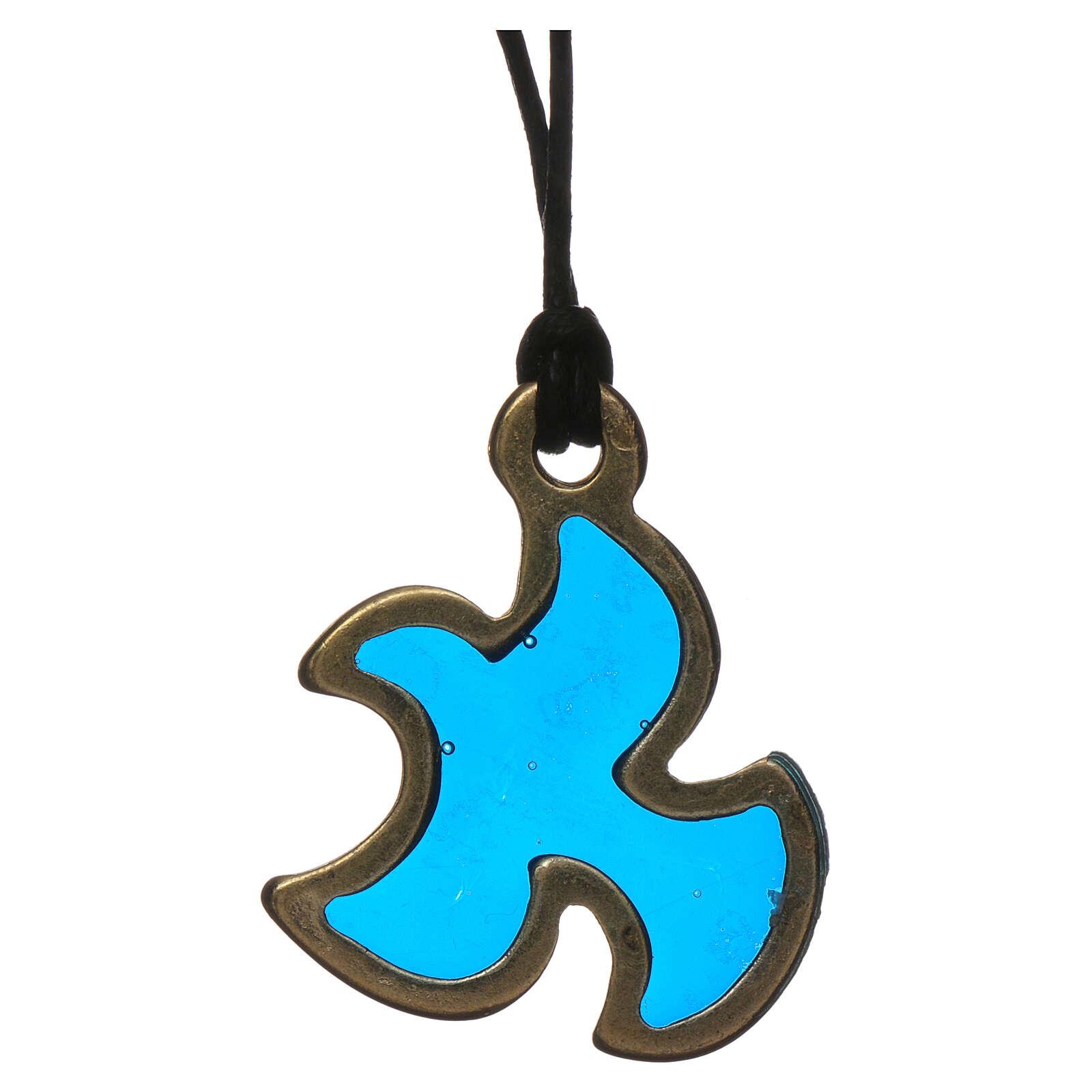 Pingente pomba Espírito Santo Crisma azul 4