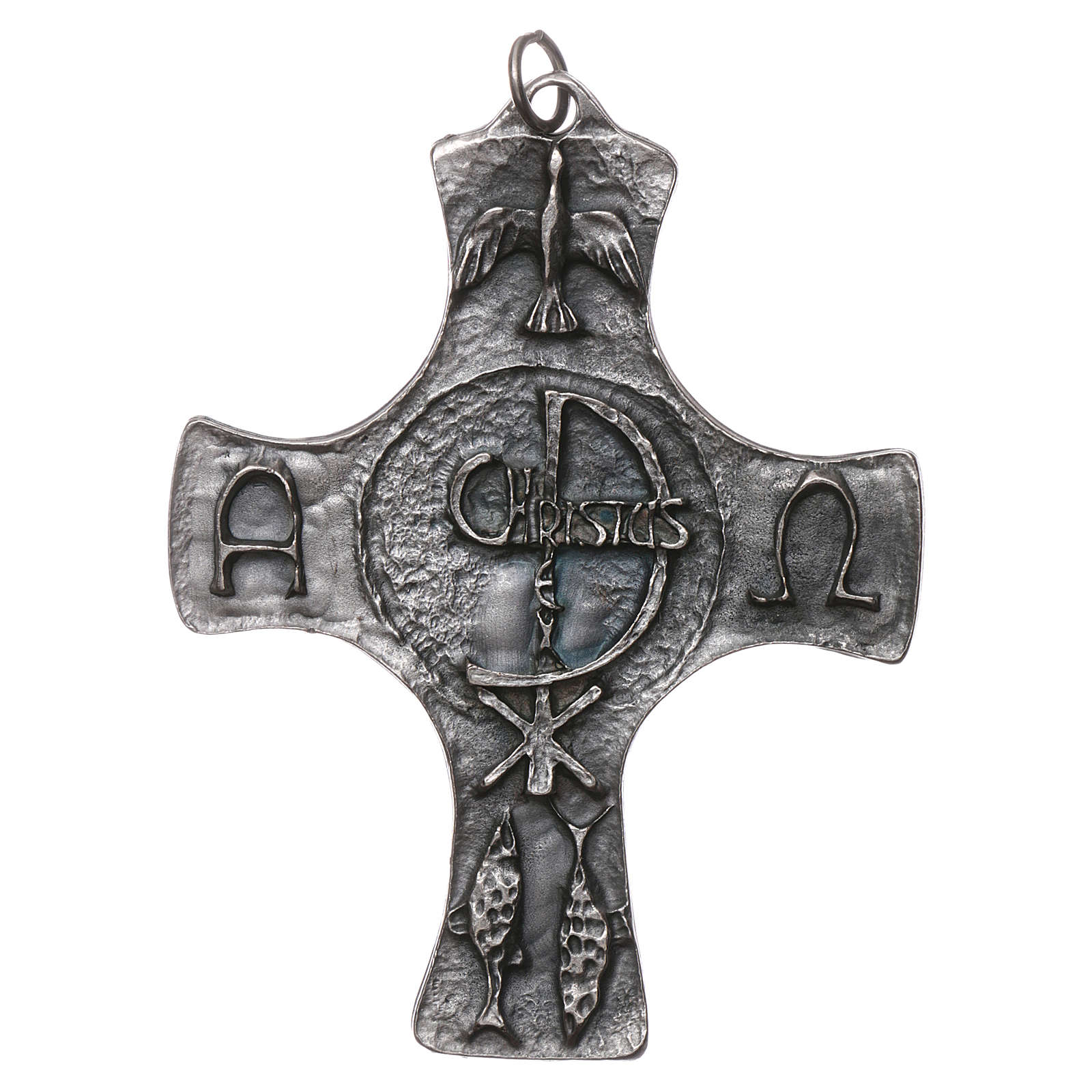 Croce Cresima Colomba e Pesci 9cm metallo 4