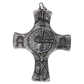 Croce Cresima Colomba e Pesci 9cm metallo s1