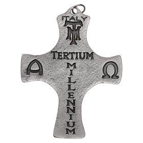 Croce Cresima Colomba e Pesci 9cm metallo s2