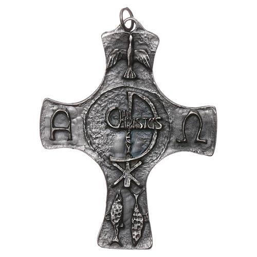 Croce Cresima Colomba e Pesci 9cm metallo 1