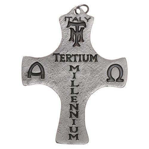 Croce Cresima Colomba e Pesci 9cm metallo 2