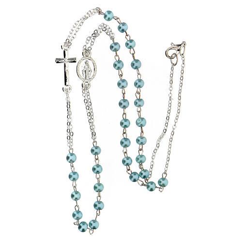 Collier à trois dizainiers avec grains en verre ciré bleu clair 4 mm 3