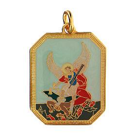Medalha esmaltada zamak São Miguel Arcanjo 3x2,5 cm