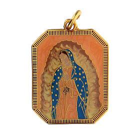 Medaglia ciondolo zama smalto Madonna di Guadalupe 3x2,5 cm