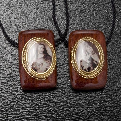 Scapolare legno marrone con medaglie 2