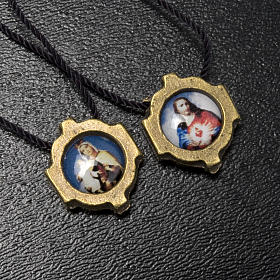 Scapular in bronzed metal with color images s3