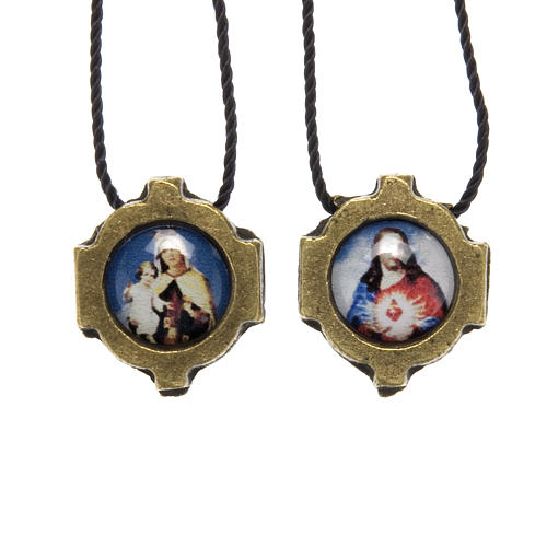 Scapular in bronzed metal with color images 1