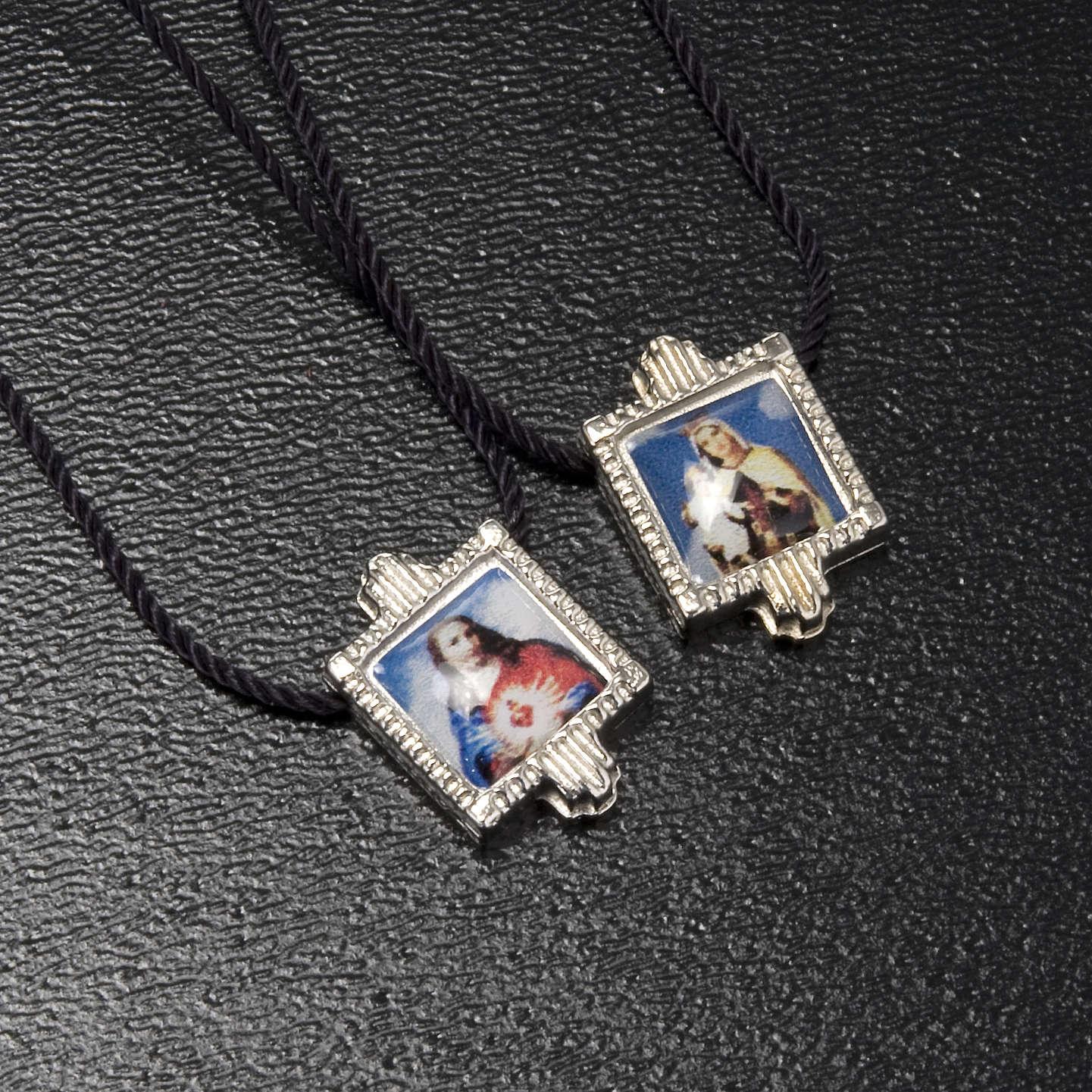 Scapolare metallo argentato con medaglie 4