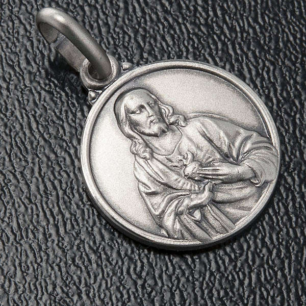 Scapular medal with Sacred Heart in 925 Silver 4