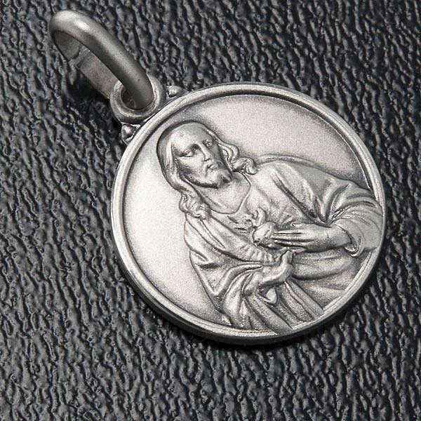 Scapolare medaglia Sacro Cuore argento 925 14mm 4
