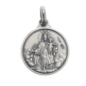 Escapulário medalha Sagrado Coração prata 925 14 mm s2