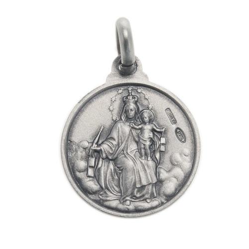 Escapulário medalha Sagrado Coração prata 925 14 mm 2