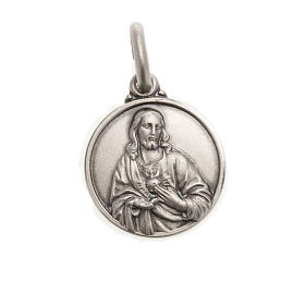 Scapular medal with Sacred Heart in 925 Silver s1