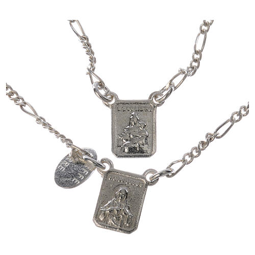 Scapular in 800 silver, Our Lady of Mount Carmel and Jesus 1