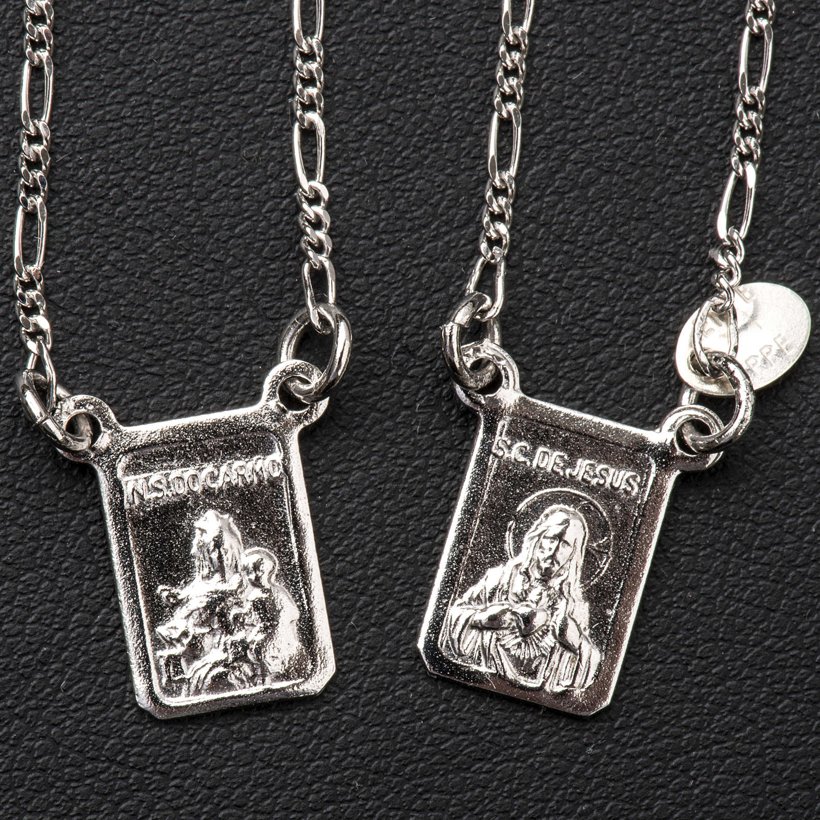 Scapular in 800 silver, Our Lady and Jesus 4