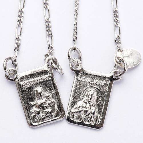Escapulario plata 800 Virgen y Jesús 1