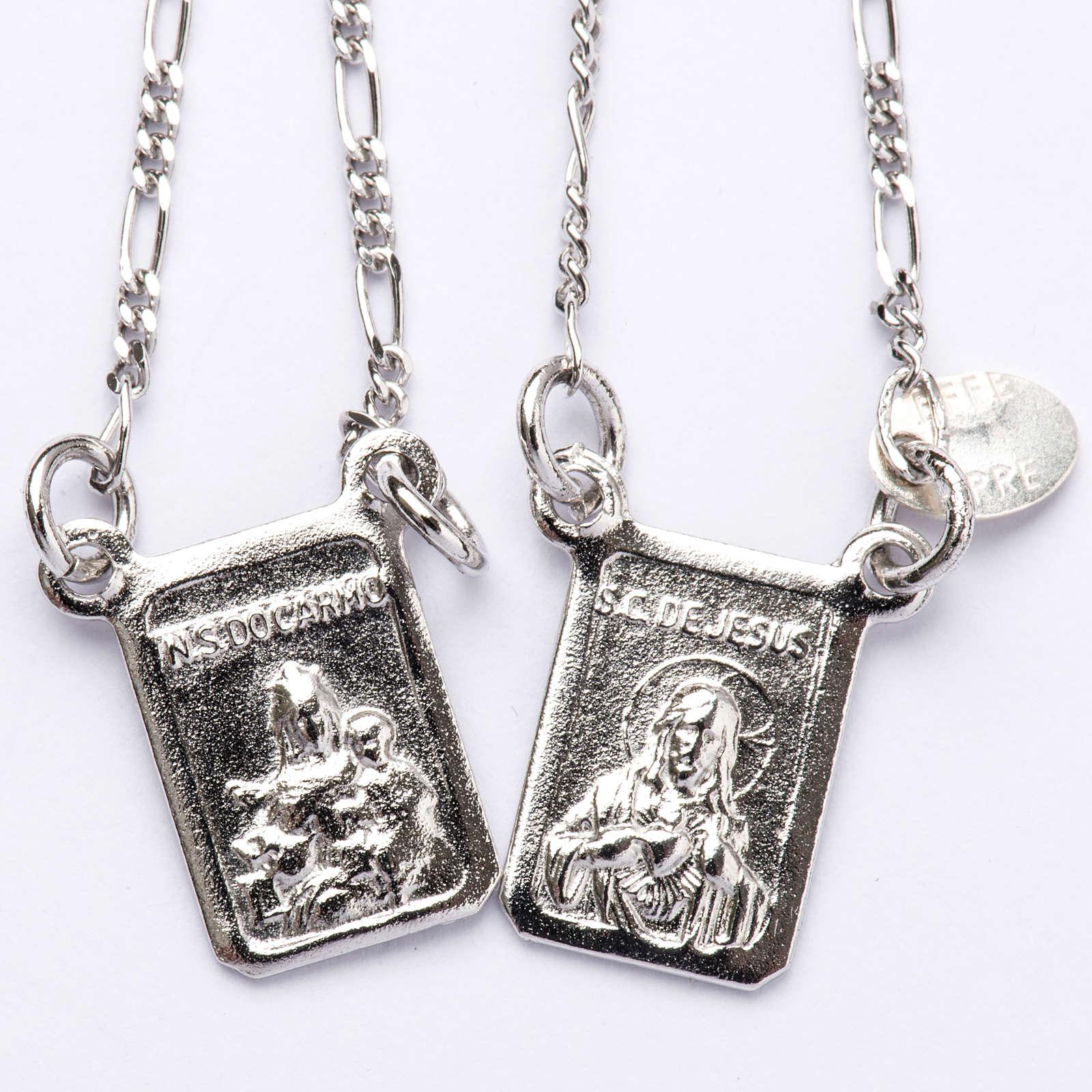 Scapolare argento 800 Madonna e Gesù 4