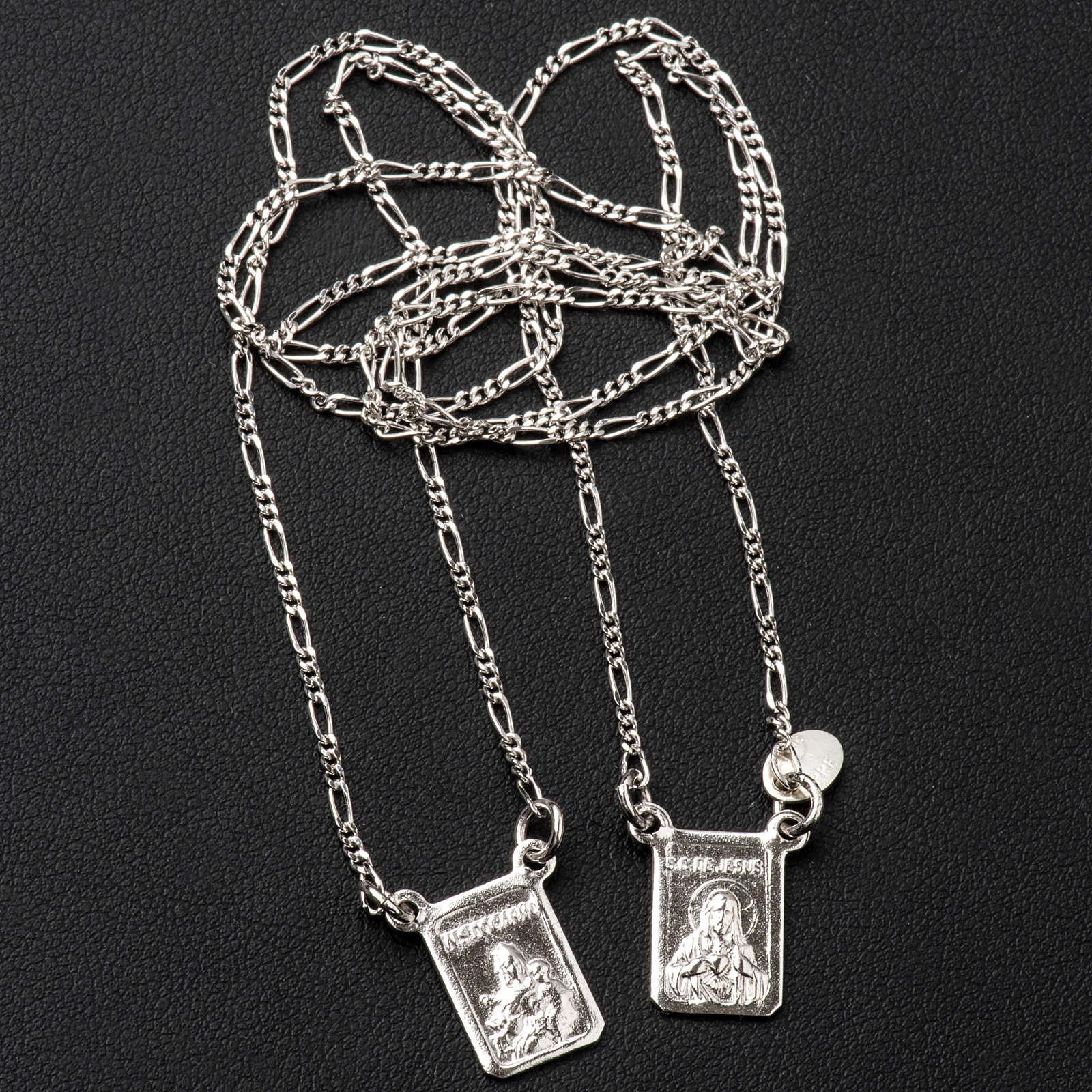 Escapulário prata 800 Virgem Maria e Jesus 4