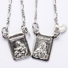 Escapulário prata 800 Virgem Maria e Jesus s1
