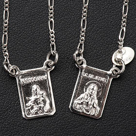 Escapulário prata 800 Virgem Maria e Jesus s2