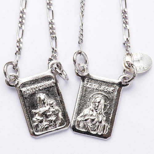 Escapulário prata 800 Virgem Maria e Jesus 1