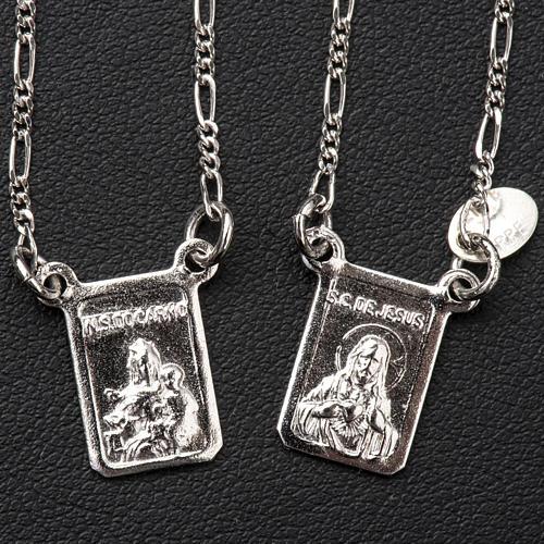 Escapulário prata 800 Virgem Maria e Jesus 2