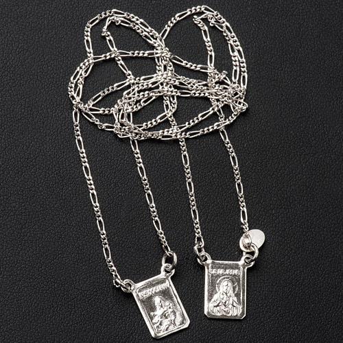 Escapulário prata 800 Virgem Maria e Jesus 3