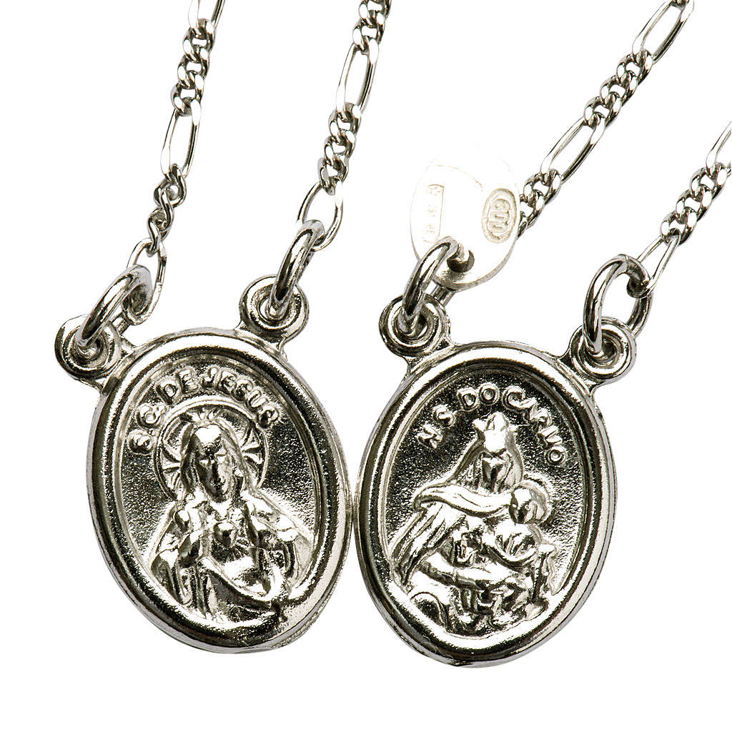 Scapular in 800 silver, round with Our Lady and Jesus 4