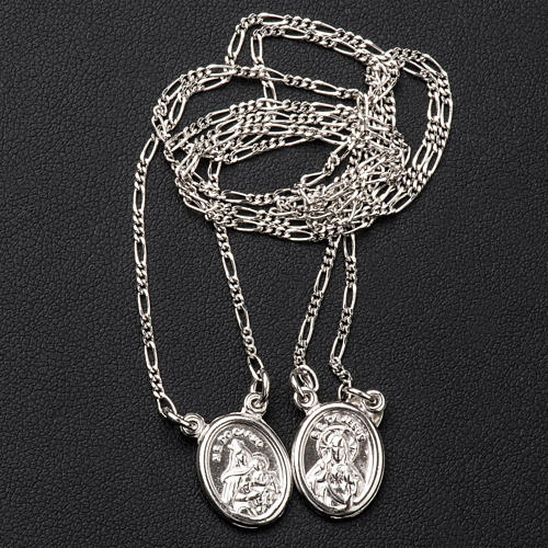 Scapular in 800 silver, round with Our Lady and Jesus 3