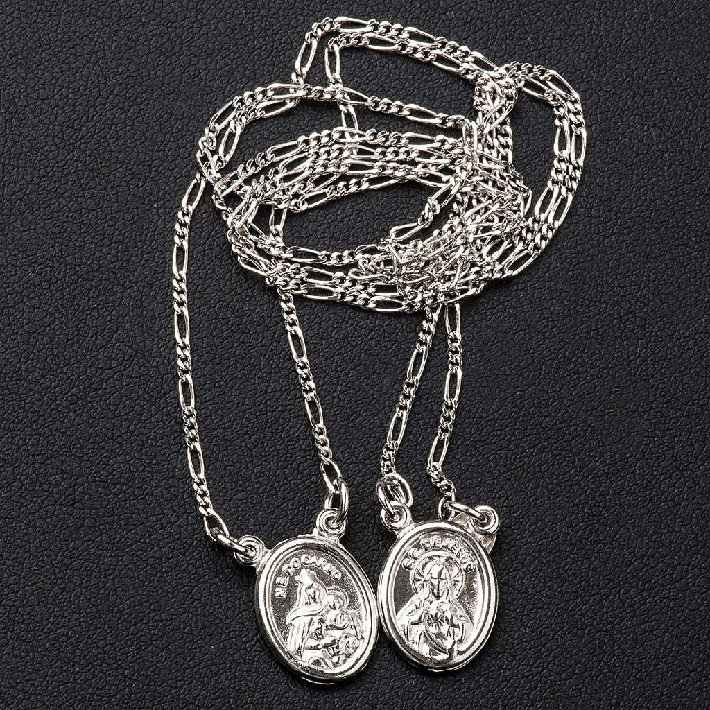Scapolare argento 800 Madonna e Gesù tondo 4