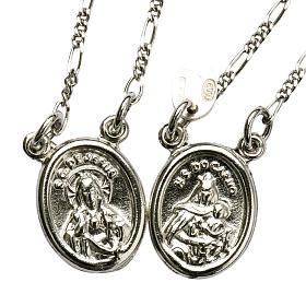 Scapolare argento 800 Madonna e Gesù tondo s1