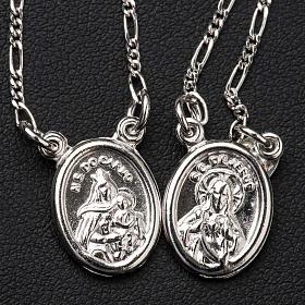 Scapolare argento 800 Madonna e Gesù tondo s2