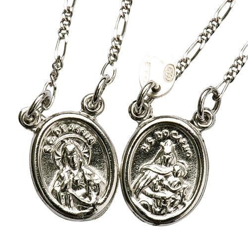 Scapolare argento 800 Madonna e Gesù tondo 1