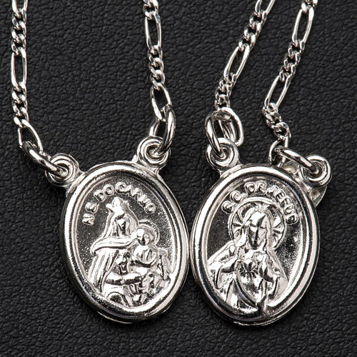 Scapolare argento 800 Madonna e Gesù tondo 2