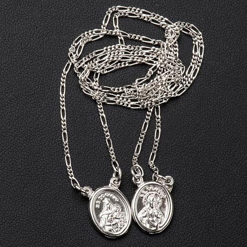 Scapolare argento 800 Madonna e Gesù tondo 3