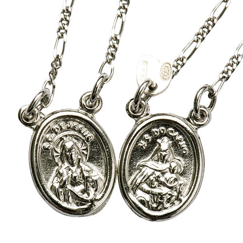 Scapular in 800 silver, round with Our Lady and Jesus 1