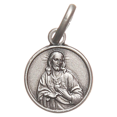 Bachelor medal Sacred Heart in 925 sterling silver 10 mm 1