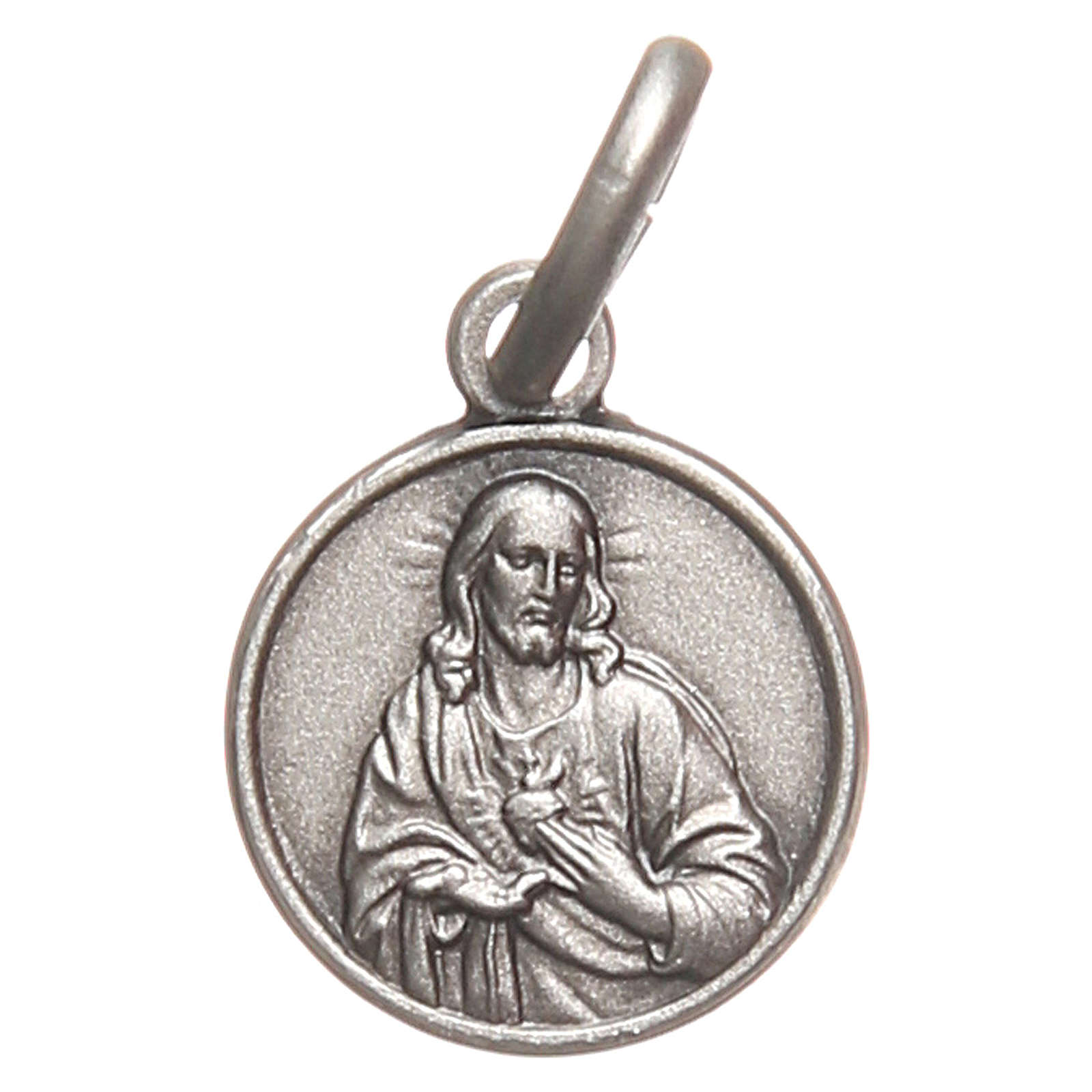 Bachelor medal Sacred Heart in 925 sterling silver 10 mm 4