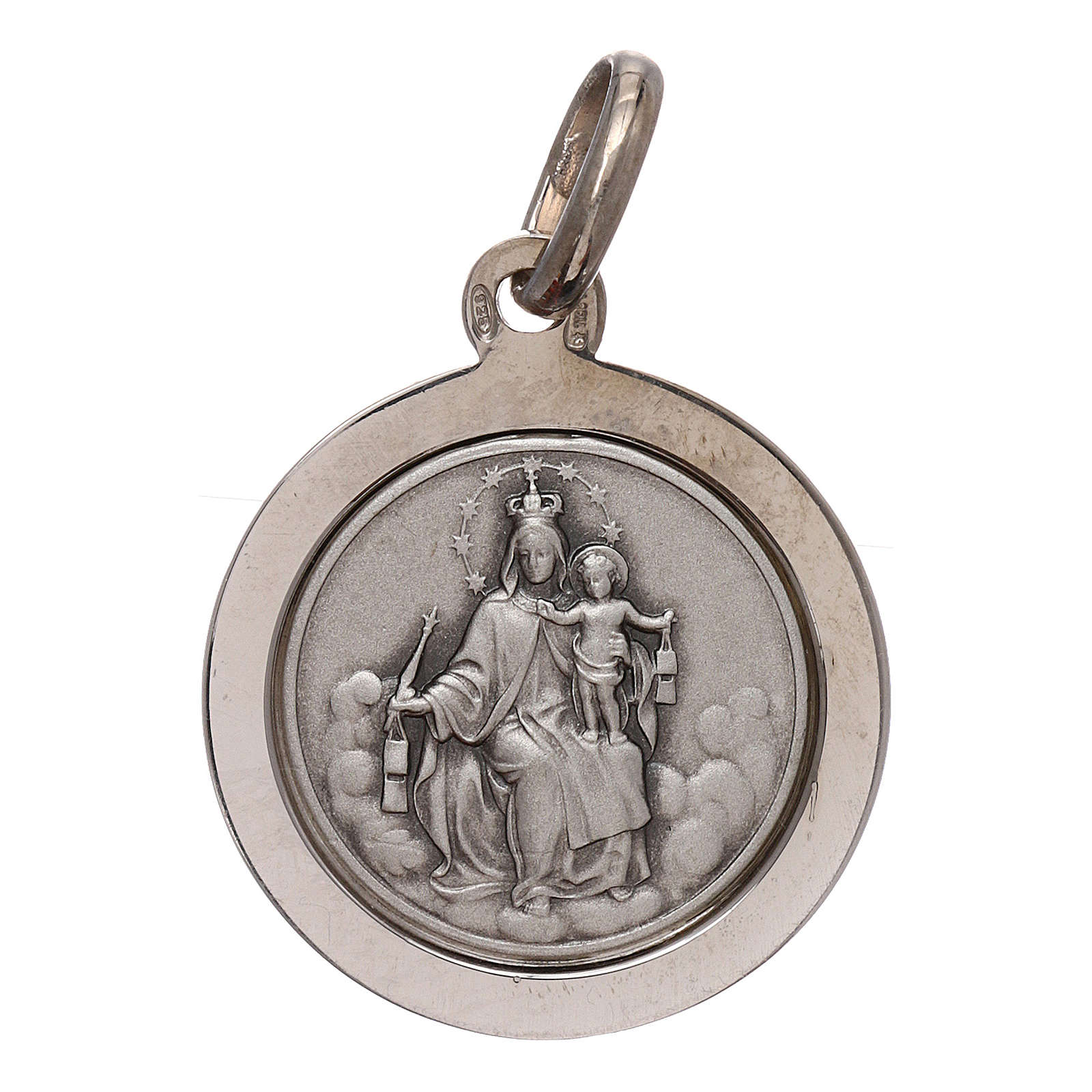 Sterling silver scapular medal 16 mm diameter 4