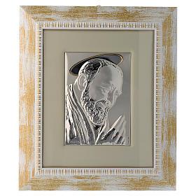 Quadro Padre Pio da Pietrelcina argento s1