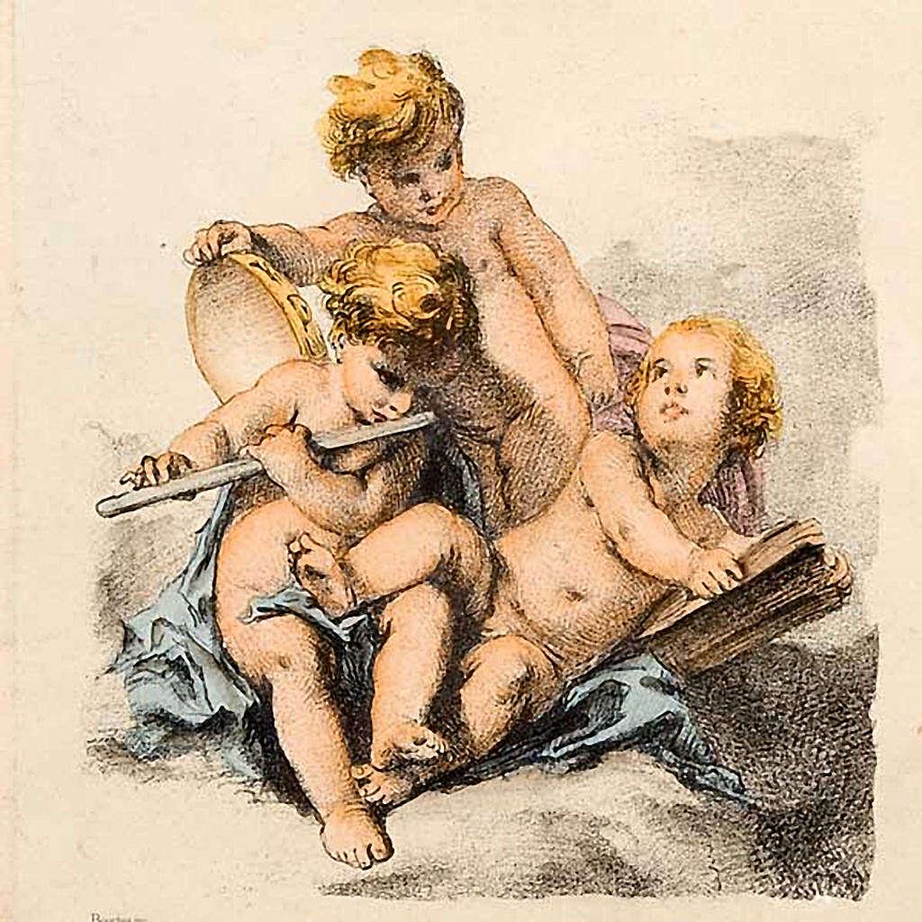 Angeli  dipinti su nuvola stampa Firenze 3