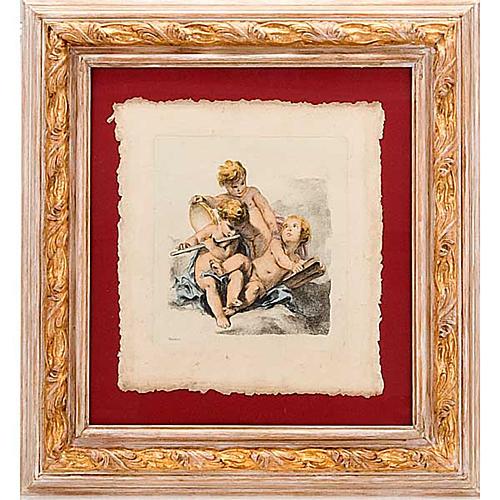 Angeli  dipinti su nuvola stampa Firenze 1