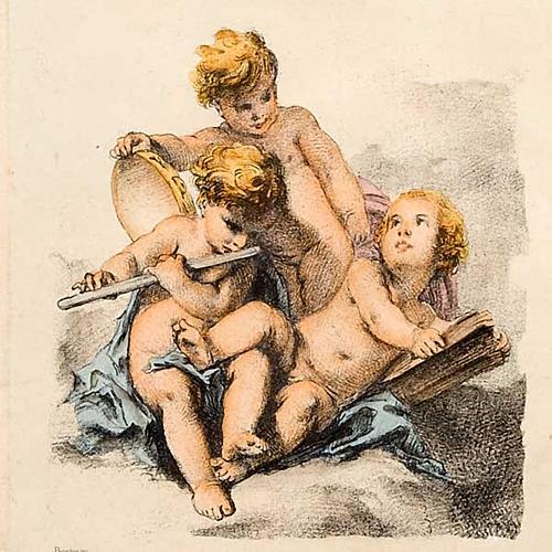 Angeli  dipinti su nuvola stampa Firenze 4