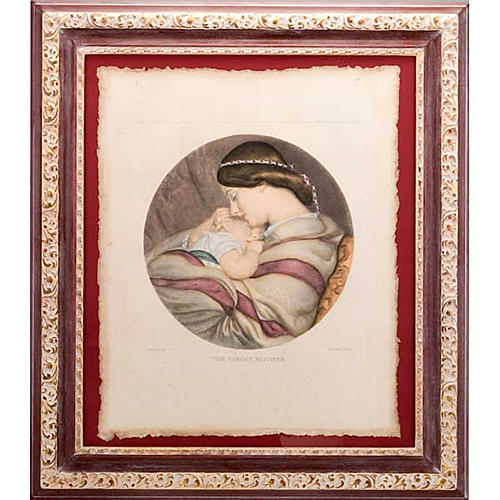 Madre con niño estampa florentina 1